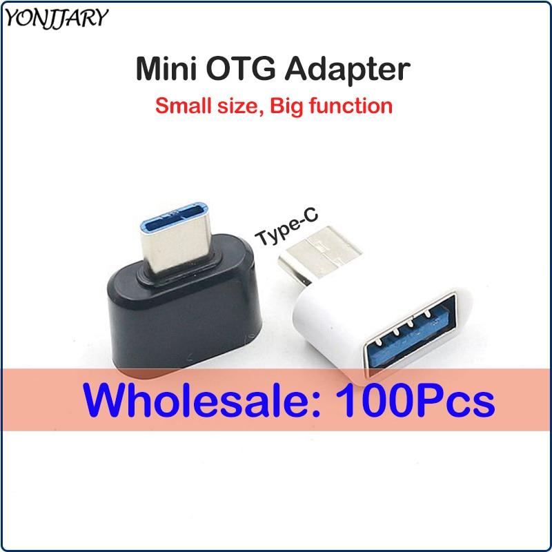 100Pcs Wholesale Mini USB Type C OTG Adapter For Samsung S10 S9 Xiaomi Mi 9 OTG Data Converter For Huawei Honor Mate P20 P30 Pro