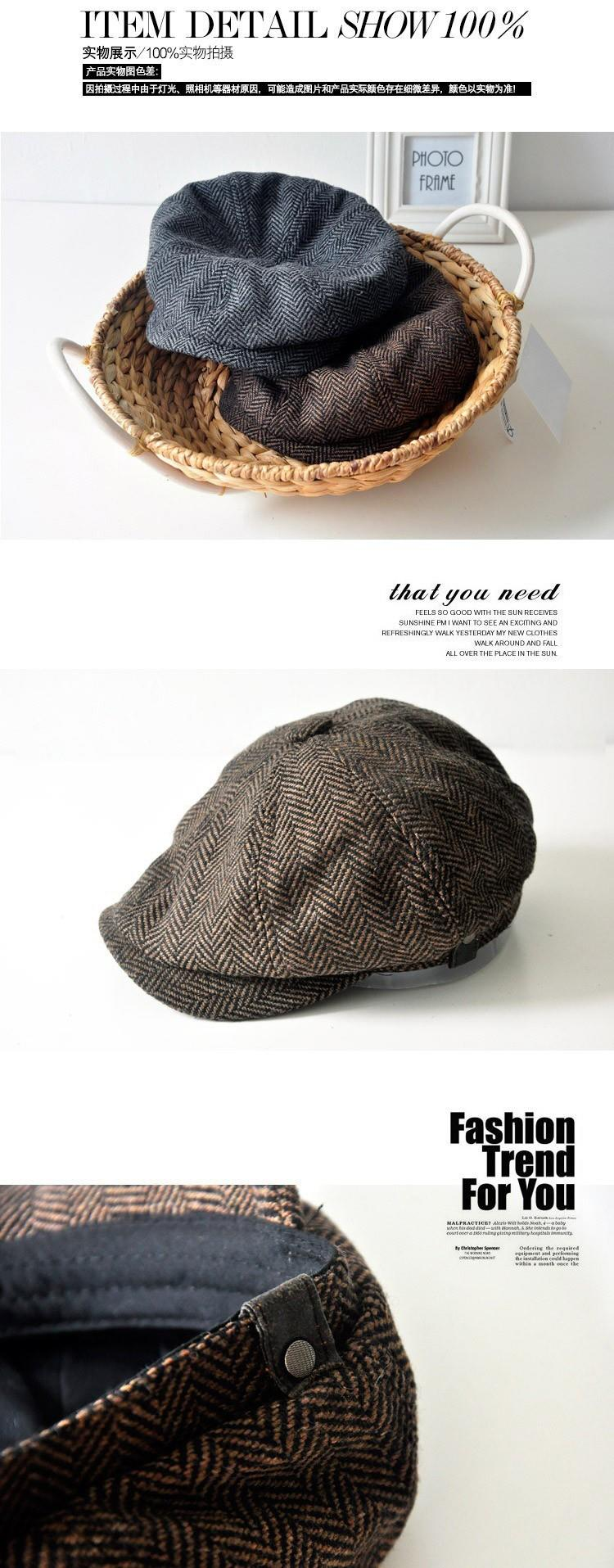 2c5efe40ab2 Men s cap New Newsboy Caps Movie star Retro HERRINGBONE TWEED cap Driving  Men Wool Fleece Hat
