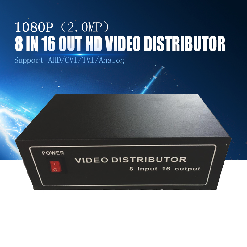 YiiSPO Wholesale 8 16ch Video distributor Splitter BNC 8 Input 16 output Support AHD CVI TVI