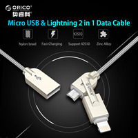ORICO 2 In 1 USB To Lightning And Micro USB Cable Charge Sync Cord For IPhone