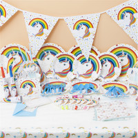 Unicorn Theme Party Supplies.Wrapper topper,gift bag,Banner/Flag,Paper plates/unicorn cup/blowout whistle kids birthday party