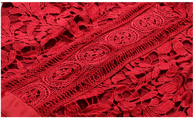 SMTHMA HIGH QUALITY Newest 2019 Designer Runway Red Dress Women's Long Sleeve Lace Patchwork Mermaid Dress 21