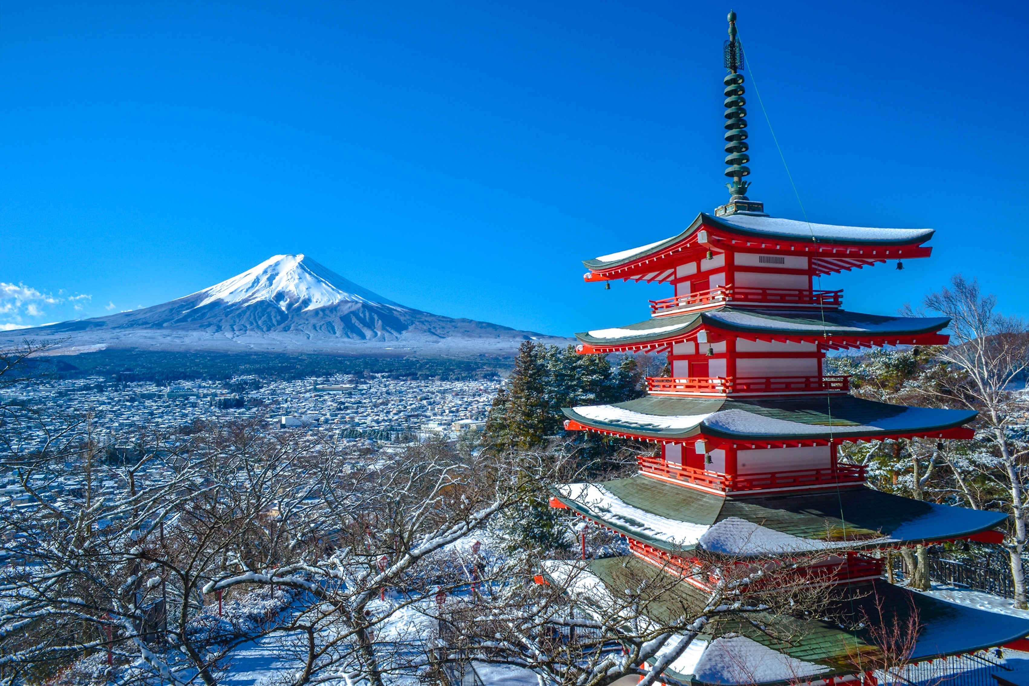 volcano Japan Fujiyoshida winter Mount Fuji panorama Japan Chureito Pagoda SL12 home wal ...
