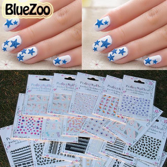 BlueZoo 50 Hojas/paquete de Color Diseño de La Mezcla Flores Tatuajes de Pegatinas de Uñas de Arte Francés Consejos de Belleza Accesorios de Maquillaje Diferentes Diseños