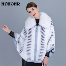 HDHOHR 2019 New Real Mink Fur Coat Women Natural Kintted Coats Batwing Sleeve Fox Jackets Winter Warm