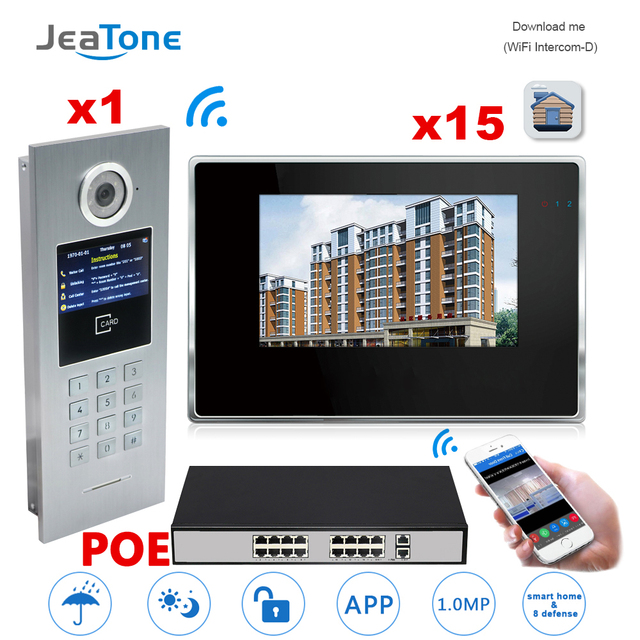 7 Touch Screen Wifi Ip Video Door Phone Intercom Poe Switch 15 Floors Building Access Control System Support Pword Ic Card