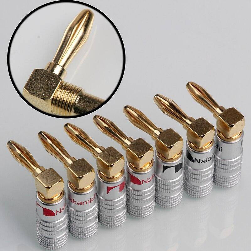 8 STÜCKE Nakamichi rechtwinklig Bananenstecker Gold Überzogene Musikalische Lautsprecherkabel Kabel Stecker 4mm Für HiFi