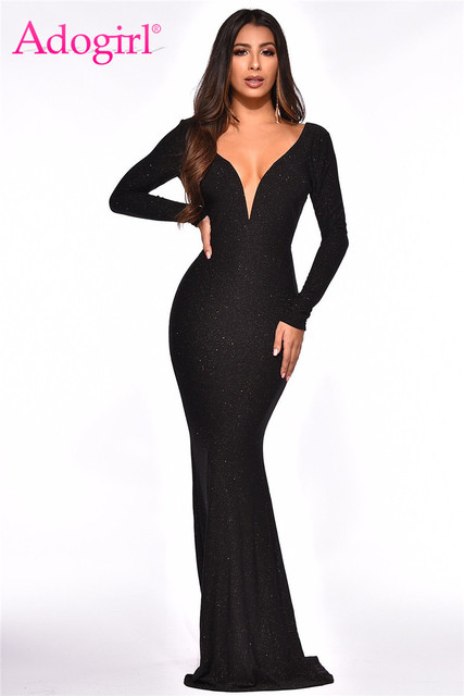 818c1907 Adogirl Shinny Sequins Wire Backless Mermaid Party Dress Deep V Neck Long  Sleeve Bodycon Maxi Evening
