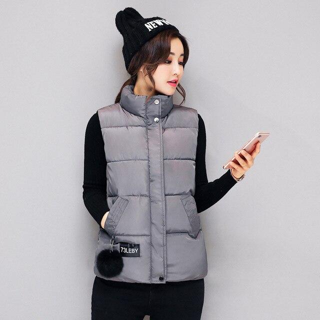 bb5281a9fb9 Women Winter Vests 2017 New Lightweight Slim Short Vest Cotton Padded  Jacket Sleeveless Female Collar Waistcoat Vest warm coats