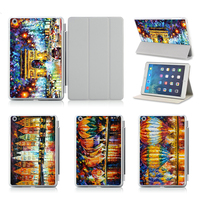 Eiffel Tower White House Oil Painting Case For IPad Air 1 2 Cover With Sleep Wake