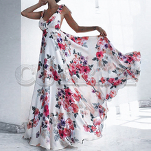 CUERLY Sexy backless floral print long dress women V neck bandage bow tie summer dresses Party club plus size white vestidos цена 2017