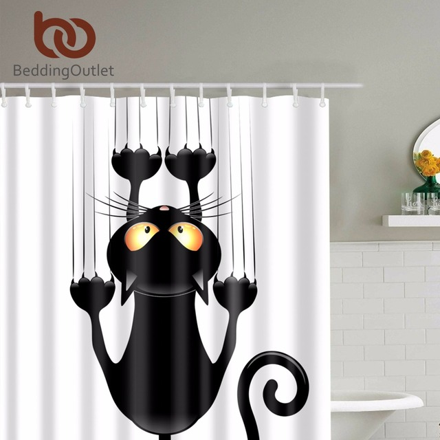 BeddingOutlet Cute Black Cat Hanging On Shower Curtain Waterproof Polyester Fabric Bathroom Deco Includes Hooks