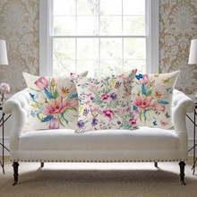 SewCrane Chinoiserie Pattern with Butterfly and Flowers Print Decorative Throw Pillow Cushion Cover, 45cm x 45cm