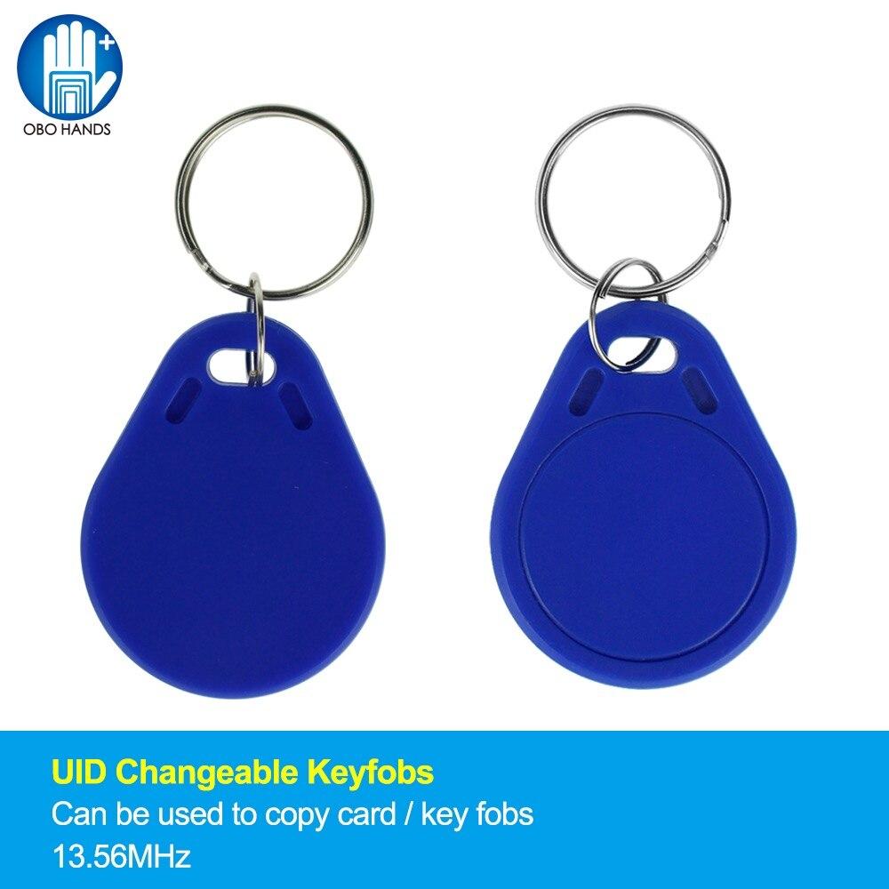 UID Modifiable RFID Télécommandes Lisible Intelligent IC Clone Clés Jeton Tags 13.56 mhz Bloc 0 Secteur Inscriptible Bleu (Pack de 10/50/100)