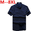 2016 new arrival cotton short-sleeve plaid shirt male super large fashion high quality summer plus size S - 4XL 5XL 6XL 7XL 8XL