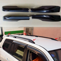 Black Silver ABS Exterior Roof Rack Side Rails Luggage Carriers Bar Cover Trim 4 PCS For
