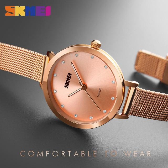 SKMEI Fashion Women Watches Luxury Stainless Steel Strap Quartz Watch Ladies 3bar Waterproof Wristwatches Relogio Feminino 1291 3