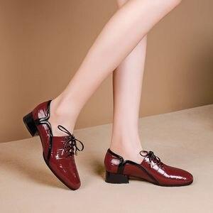 Image 4 - ALLBITEFO naturel en cuir véritable loisirs chaussures à talons hauts mode dames femmes talons décontracté printemps automne fille talons hauts