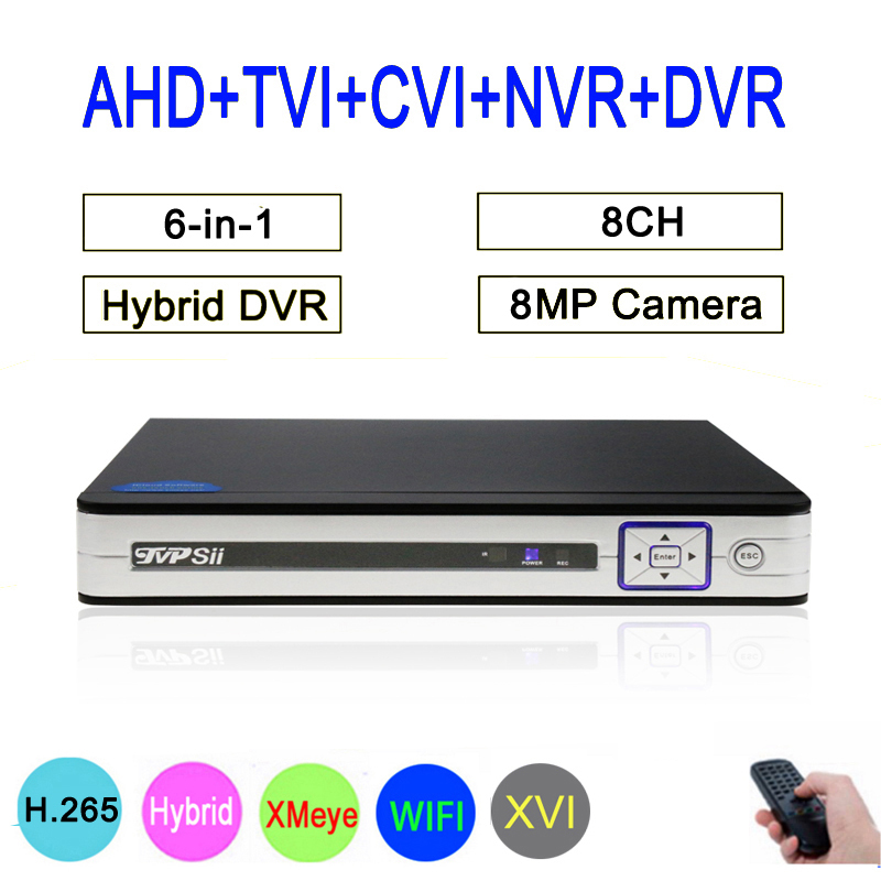 8MP Surveillance Camera Silver Panel Hi3531D 8 Channel 8CH WIFI 6 in 1 Hybrid Coaxial XVI