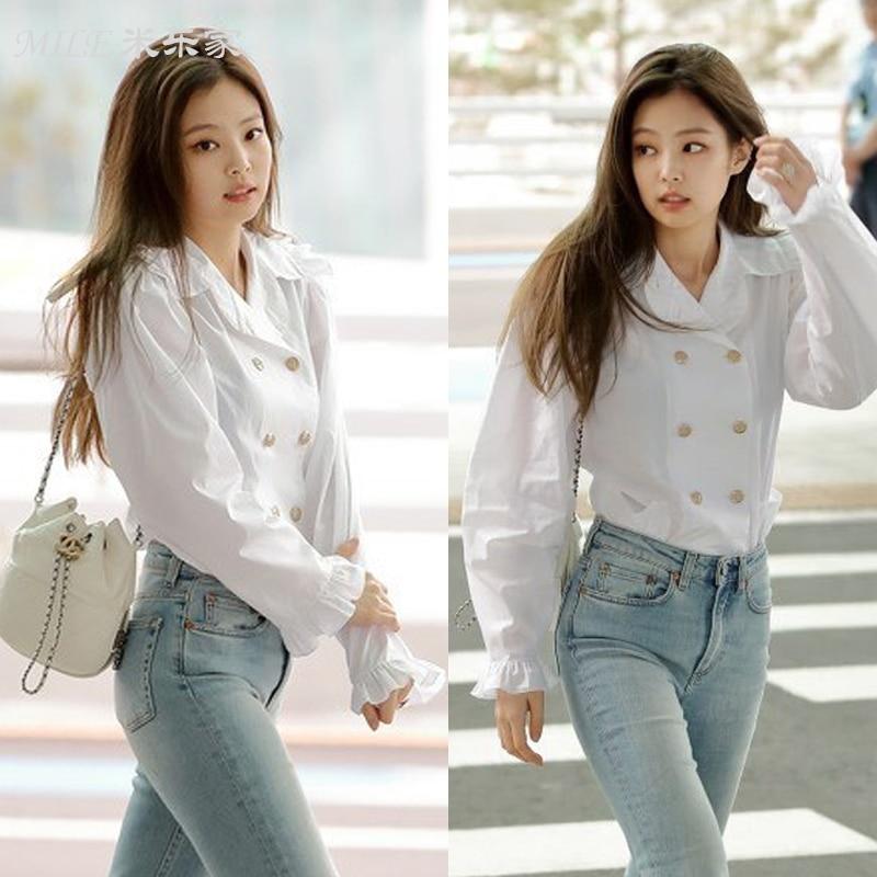kpop BLACKPINK JENNIE Wild white double breasted retro Flounced shirt women Puff sleeve blouses streetwear korean sweet shirt