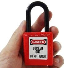 DHL 50pcs ABS security padlock Shackle safety ,Nylon non conductive padlock, unique key or same JF1195