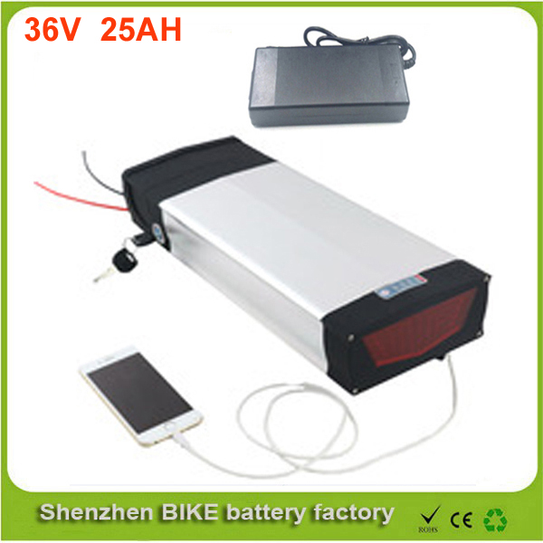 With USB port Rear rack battery li-ion battery pack 36V 1000W electric bike battery 36V 25Ah with Samsung cell 30A BMS for ebike free customs taxes super power 1000w 48v li ion battery pack with 30a bms 48v 15ah lithium battery pack for panasonic cell