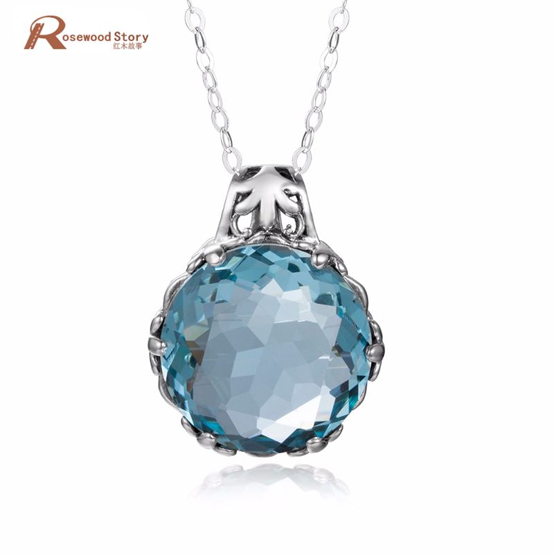 Created Aquamarine Stone Crystal Pendant 925 Sterling Silver Jewelry October Birthstone Vintage Fashion Necklace Pendant Women
