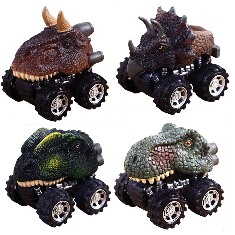 4 Styles Dinosaur Model Toy Car Pull Back Car Dino Toy With Big Tire Wheel 3-14 Years Old Boy Creative Mini Collectible Kid Gift
