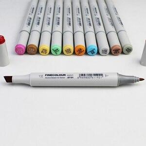 Image 2 - FINECOLOUR 160 צבעים זוגי בראשות צבע סקיצה מרקר עט ארכיטקטורת מבוסס אלכוהול אמנות סמני סט מנגה ציור