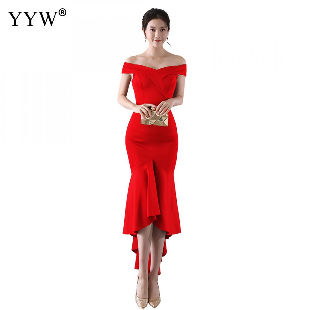 Off Shoulder Red Evening Dress Girls Wedding Party Dress Prom Gown Women Solid Elegant Club Vestidos Sexy Robe Femme Long Dress