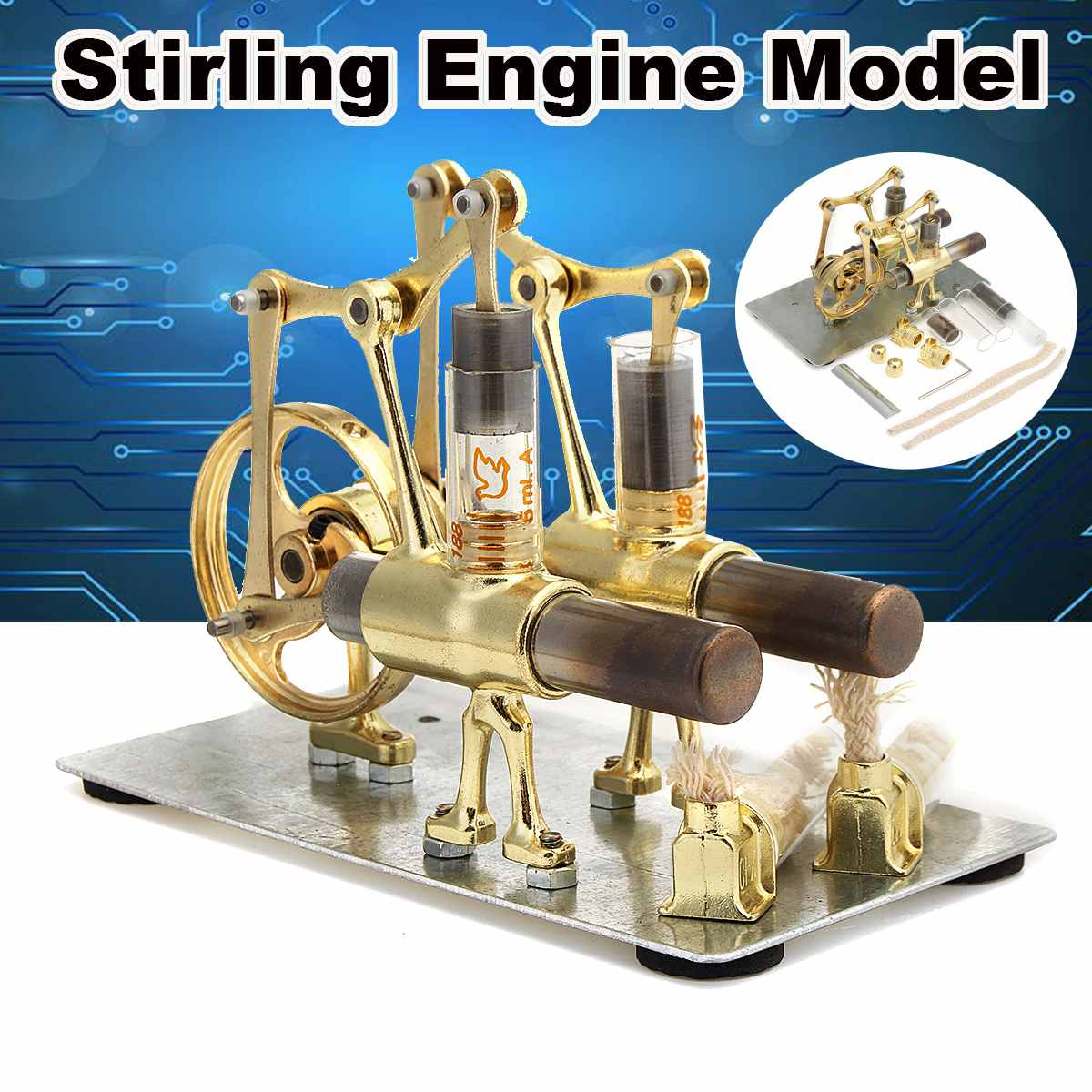 2019 New Double Cylinder Stirling Engine Motor Model Science Experiment Kit Set For Children Gift Collection