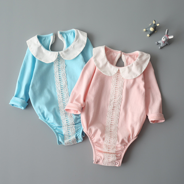 Baby girl clothes newborn romper cute infant sleepwear autumn spring hot kid long sleeve 2017 pure cotton lace clothing suit