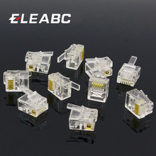 10pcs 6P6C 6 Pins 6 Contacts RJ11 Telephone Modular Plug Jack,RJ11 Connector(China)