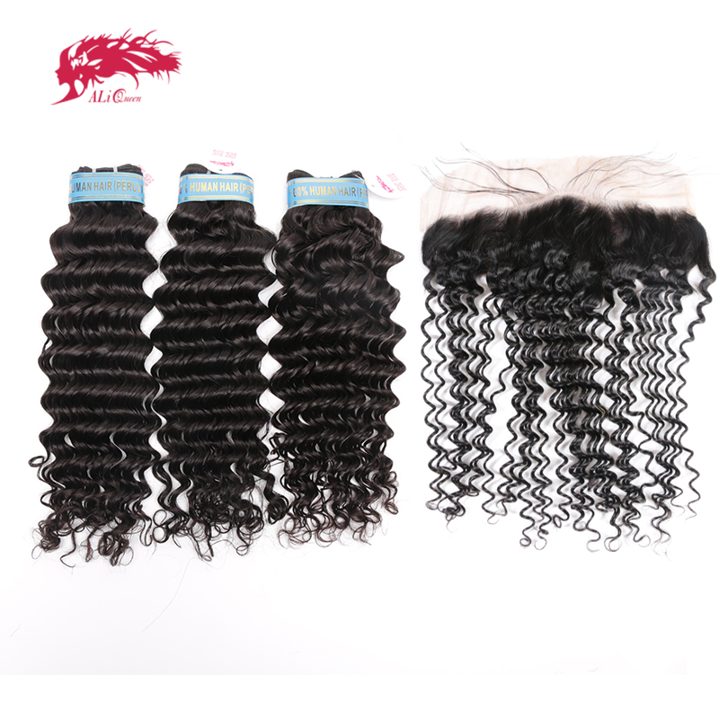 Ali Queen Hair Peruvian Deep Wave Human Hair Weaves Bundles 3PCS Bundles With 13x4 Lace Frontal Virgin Hair Closure With Bundle