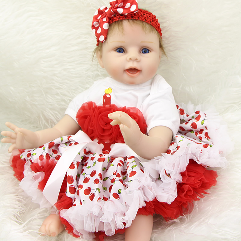 Lifelike 22 Inch Reborn Girl Doll Soft Vinyl Realistic Adorable Baby Dolls With Candle Dress Toddler Birthday Gift Bedtime Play 9pcs girl cartoon birthday candle