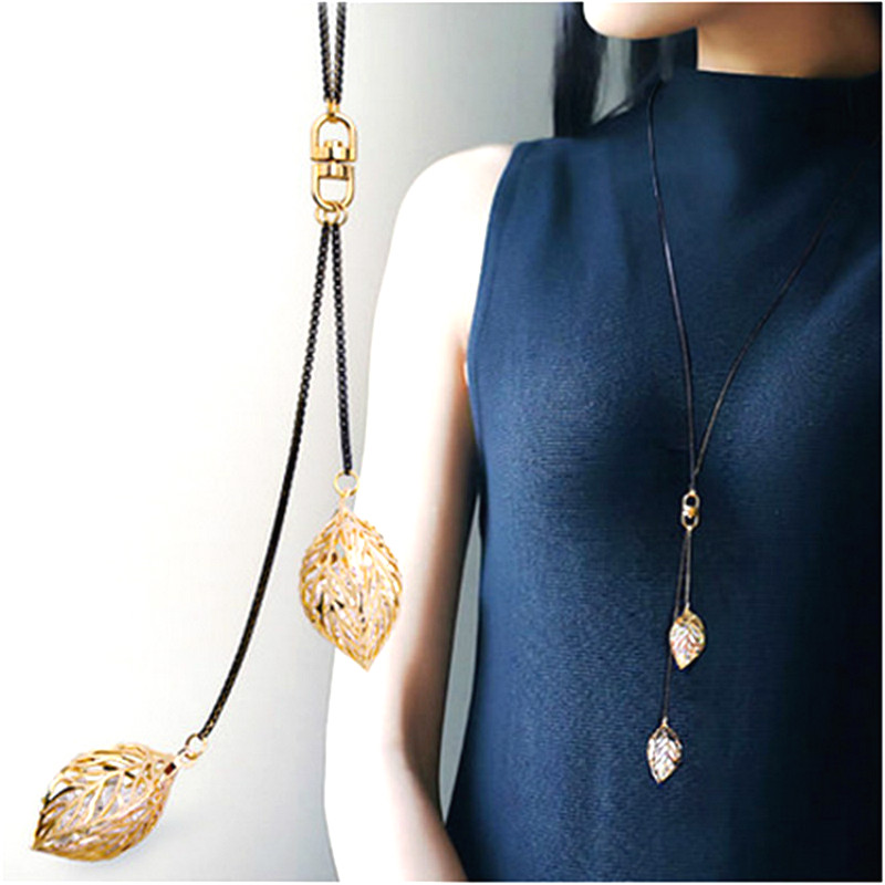 Gold-Color Leaf Necklace Long Design Y Shaped Necklaces & Pendants Classic Trendy Jewelry Accessories All Match