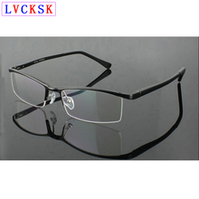 Men Myopia Glasses Semirim Aluminum Magnesium Frame Male Business Eyeglasses Frames nearsighted shorted sighted Spectacles L3
