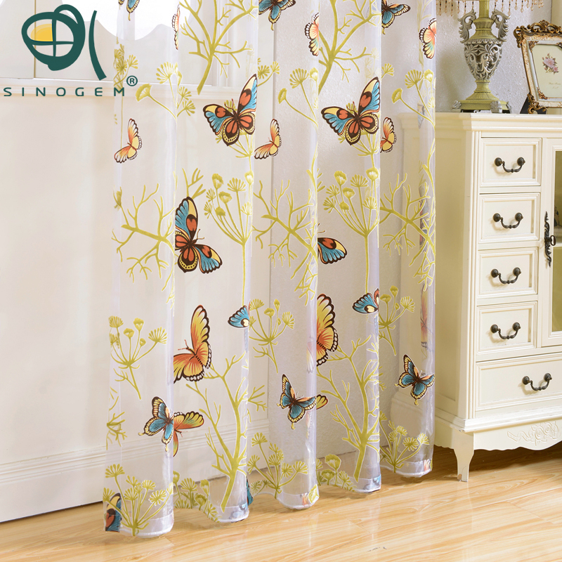 News 2017 Butterfly Curtains Tulle Window Curtain For