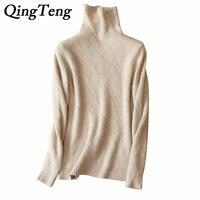 QingTeng Women S Long Sleeve Turtleneck Warm Jacket Winter Autumn Real Pure Cashmere Knitted Winter Autumn