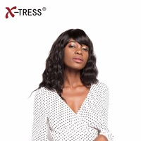 X-TRESS 20inch Synthetic Wigs For Black Woman With Blunt Bang Black Color Long Wavy Kanekalon Heat Resistant Daily Full WomenWig