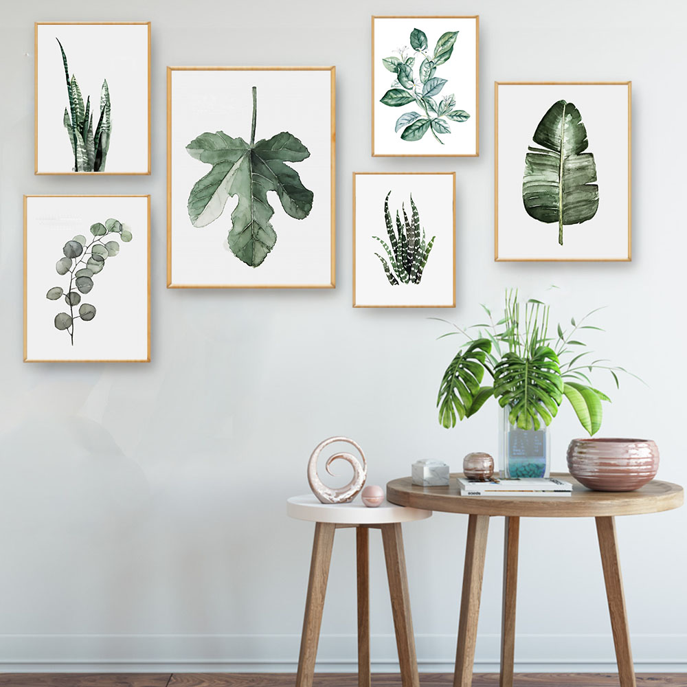 Watercolor plants leaves vintage poster canvas art prints for Using plants in home decor