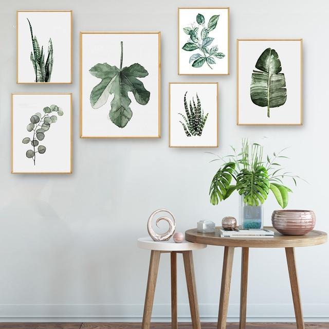 Dining Room Art Prints: Watercolor Plants Leaves Vintage Poster Canvas Art Prints