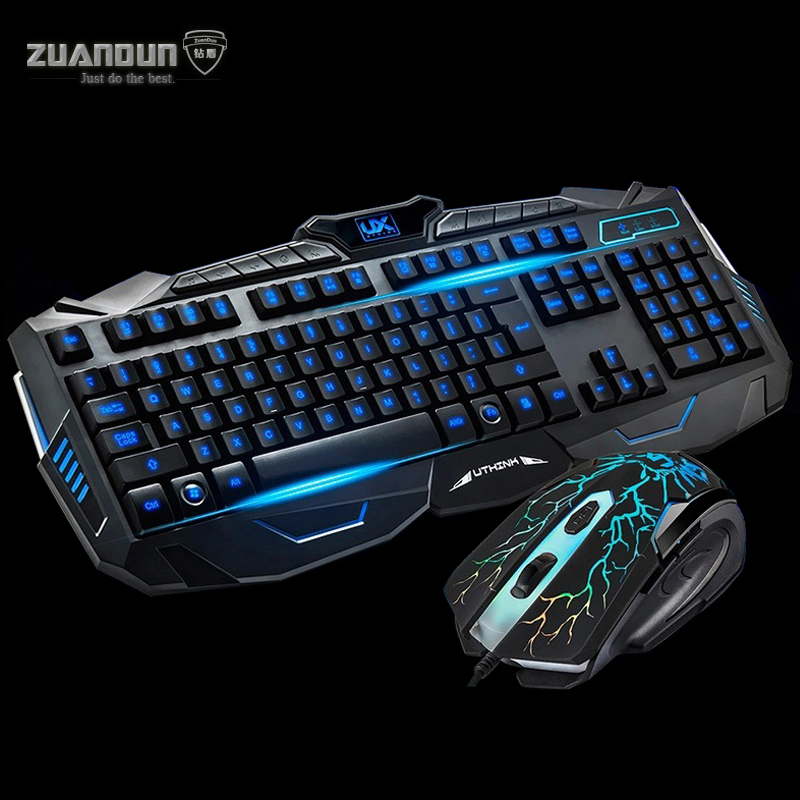 V100 Wired Backlit Gaming Keyboard Mouse Combos for PC Laptop Pro Gamer English Alphabet Keyboard USB Optical Gaming Mouse Mice