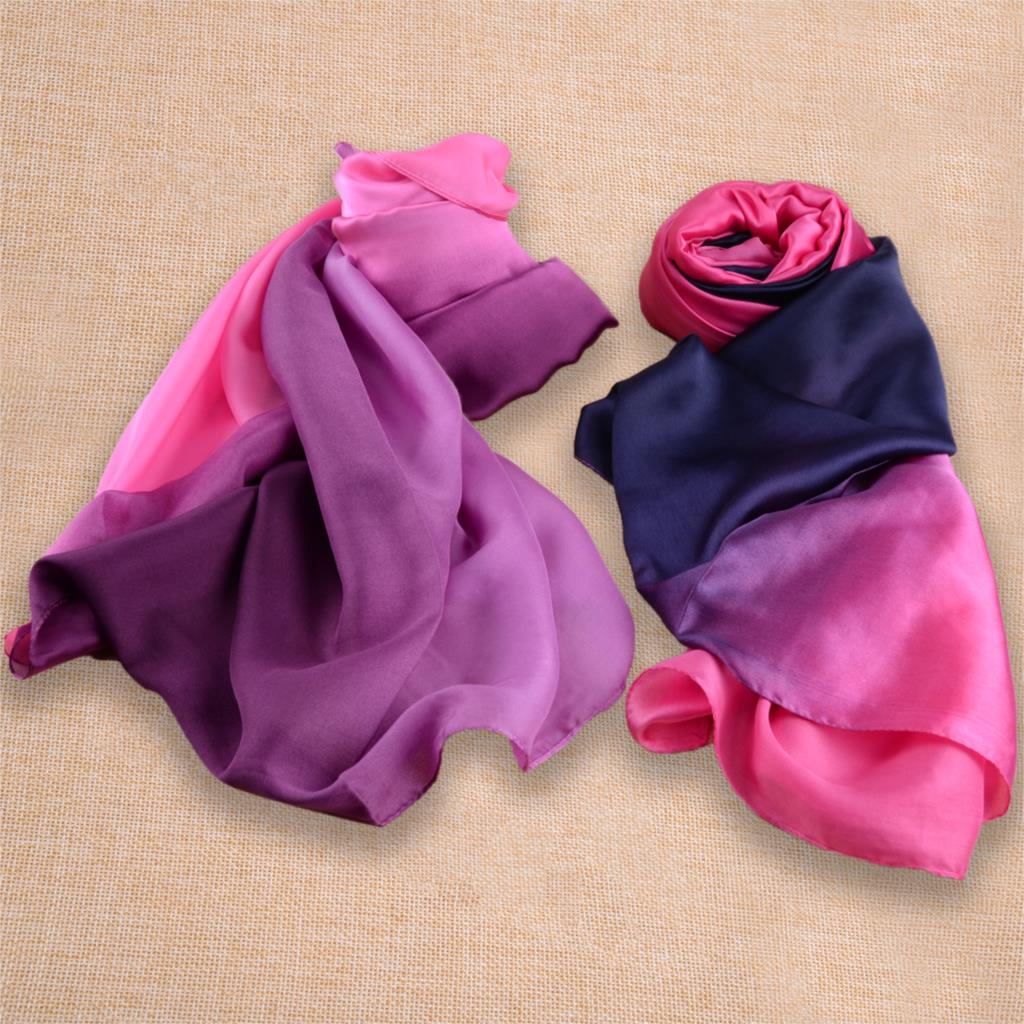 Gradient Color Soft Belly Dance Imitation Silk Waving Headscarf Shawl Veil Xmas Partys