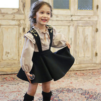 2018 Children Baby Girl Puff Long Sleeve Blouse Shirt Suspender Skirt Set Kids Baby Princess Bowknot