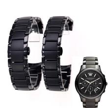 Accessories ceramic steel strap 22mm 24mm for Armani watch modelAR1452 AR1451 watchbands black matte strap Replacement bracelet