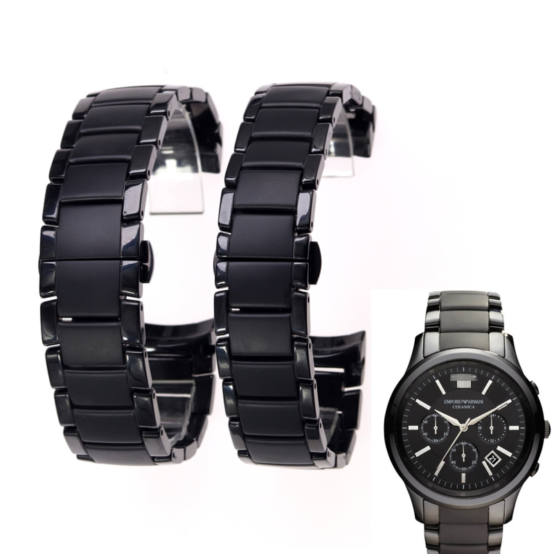 High quality ceramic steel strap 22mm 24mm for Armani watch modelAR1452 AR1451 watchbands black matte strap Replacement bracelet-in Watchbands from Watches