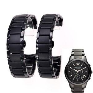 Image 1 - Zubehör keramik stahlband 22mm 24mm für Armani uhr modelAR1452 AR1451 uhrenarmbänder schwarz matte strap Ersatz armband
