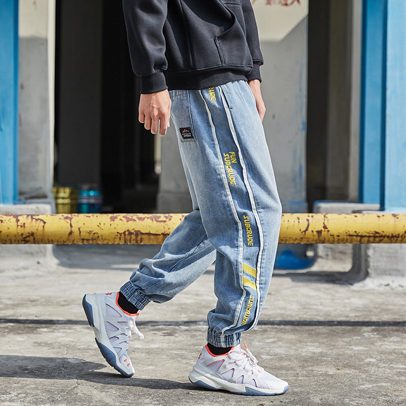 Streetwear Fashion Men Jeans Loose Side Stripe Casual Harem Pants Joggers Jeans Men Spliced Designer Slack Bottom Hip Hop Jeans