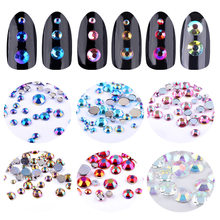 6 boîtes Paillettes Ongles Gemmes Nail Art Strass bricolage 2mm/3mm/4mm/5mm Cristal AB Clair/Or/Bleu/Vert/Rose/Rouge 3D Gemme Décoration(China)
